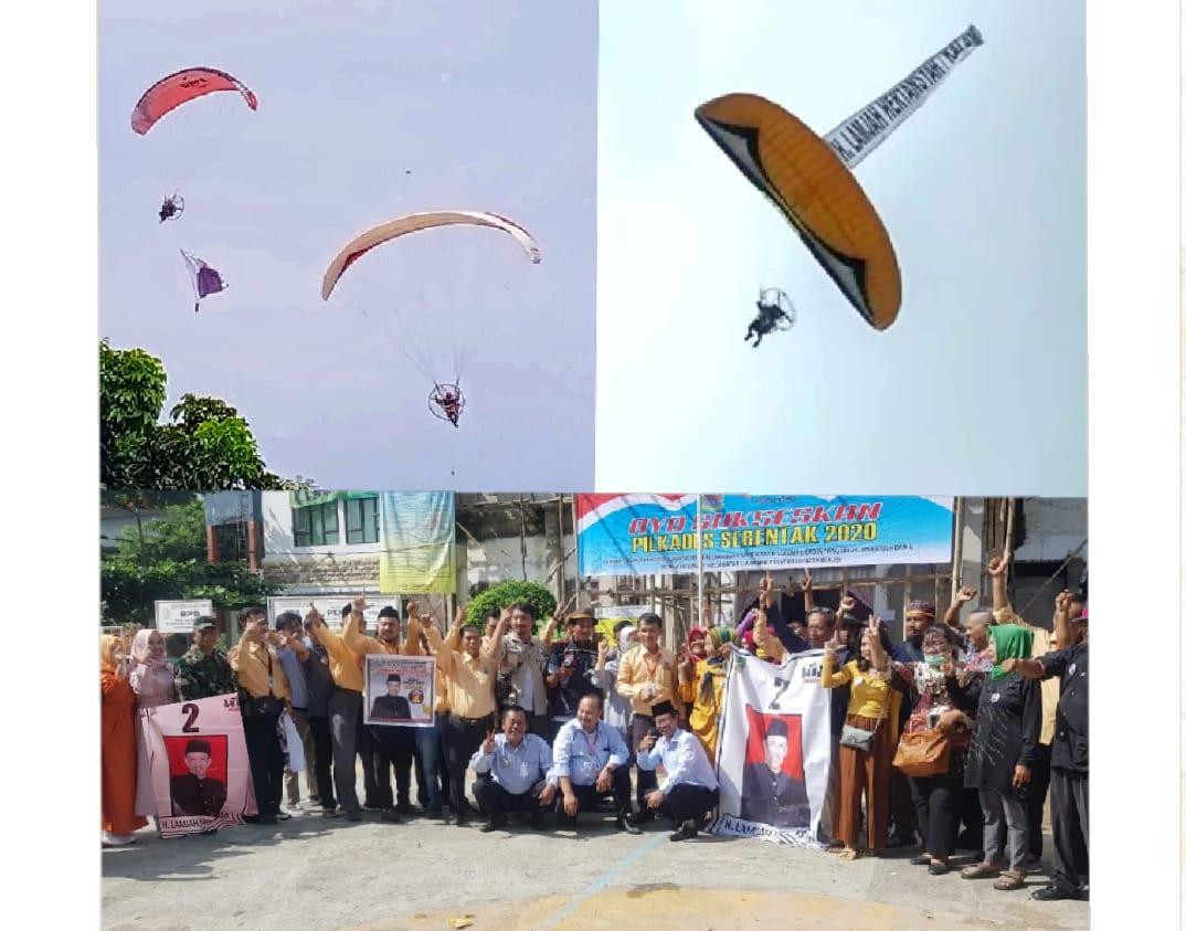 Tiga Aksi Paralayang Lambungkan Nama H. Lamjah (Kalam) Cakades Jayamukti Nomor Urut 2