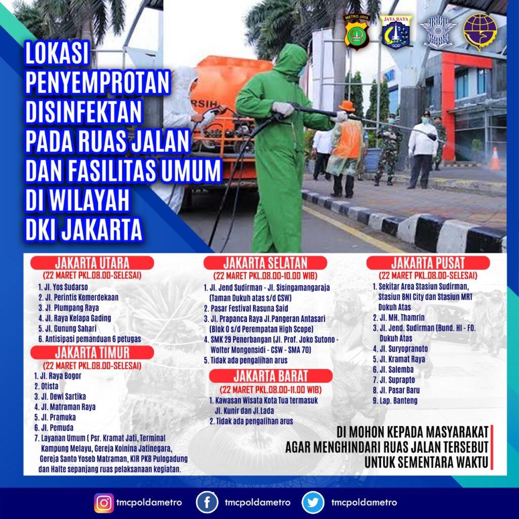 Polda Metro Jaya Dampingi Pemerintah Provinsi DKI Jakarta Lakukan Penyemprotan