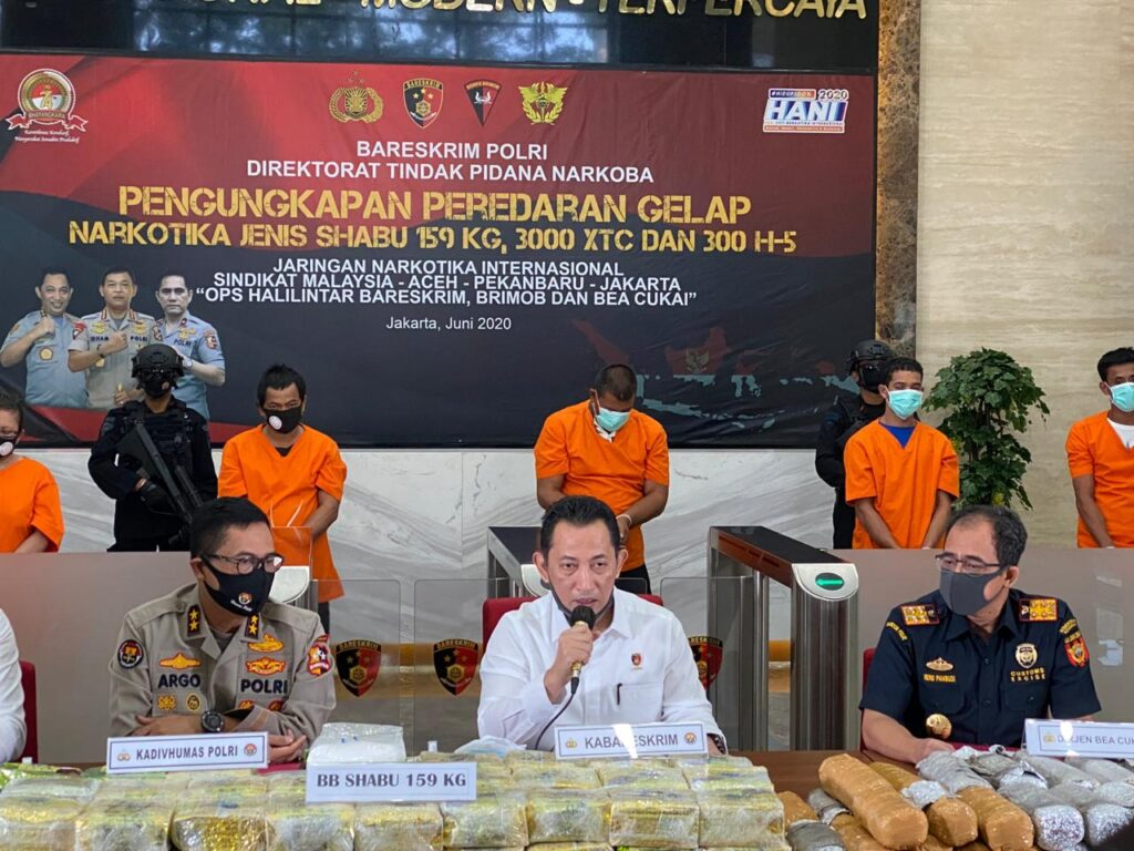 Bareskrim Polri Ungkap Peredaran Gelap Narkotika Jenis Shabu 159 Kg, 3.000 XTC dan 300 H-5.