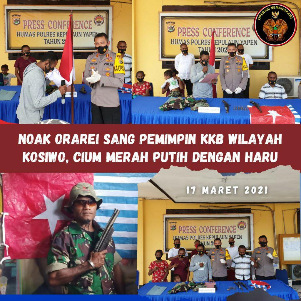 Naok Orarei Sang Komandan KKB Wilayah Yapen Kembali ke NKRI,Cium Merah Putih dengan Haru